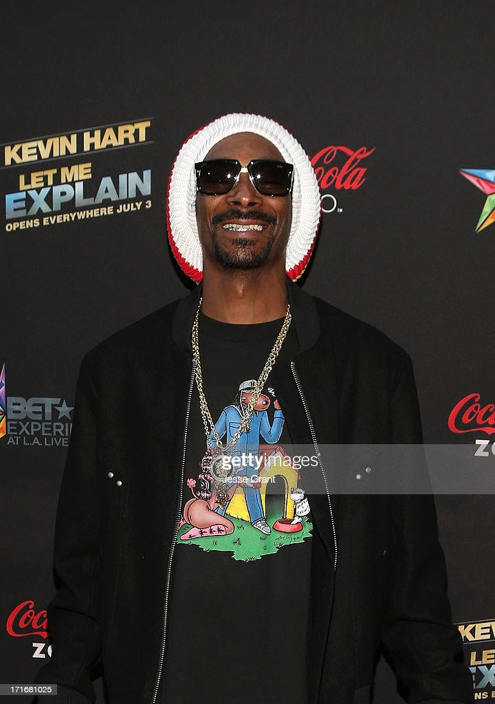 Recording Artist Snoop Dogg attends Movie Premiere 'Let Me Explain' with Kevin Hart during the 2013 BET Experience at Regal Cinemas L.A. Live on June 27, 2013 in Los Angeles, California.