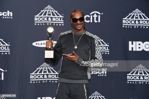 Recording artist Snoop Dogg attends the Press Room of the 32nd Annual Rock Roll Hall Of Fame Induction Ceremony at Barclays Center on April 7 2017 in...
