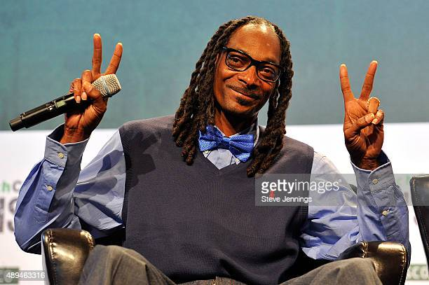 Recording artist Snoop Dogg speaks onstage during day one of TechCrunch Disrupt SF 2015 at Pier 70 on September 21 2015 in San Francisco California