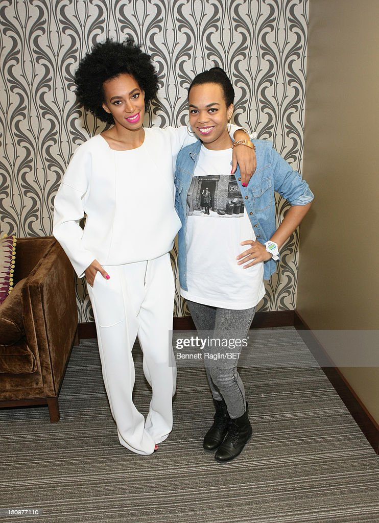 Recording artist Solange Knowles and Taj Rani of BET.com attend 106 & Park at 106 & Park Studio on September 18, 2013 in New York City.