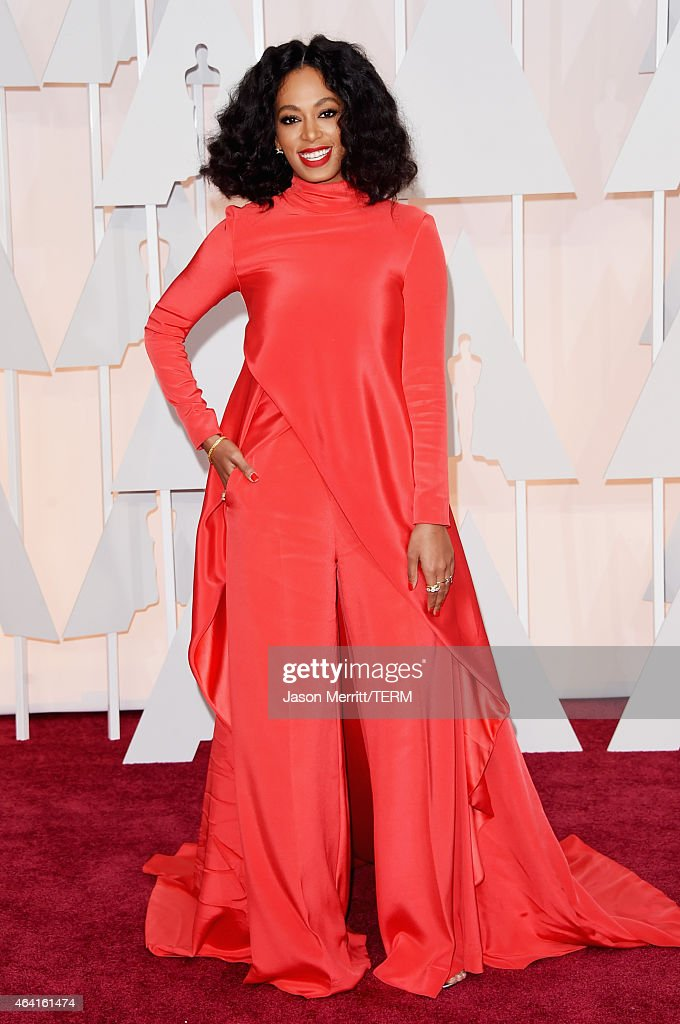 Recording artist Solange Knowles attends the 87th Annual Academy Awards at Hollywood Highland Center on February 22 2015 in Hollywood California