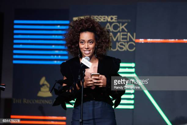 Recording artist Solange Knowles speaks onstage during 2017 Essence Black Women in Music at NeueHouse Hollywood on February 9 2017 in Los Angeles...