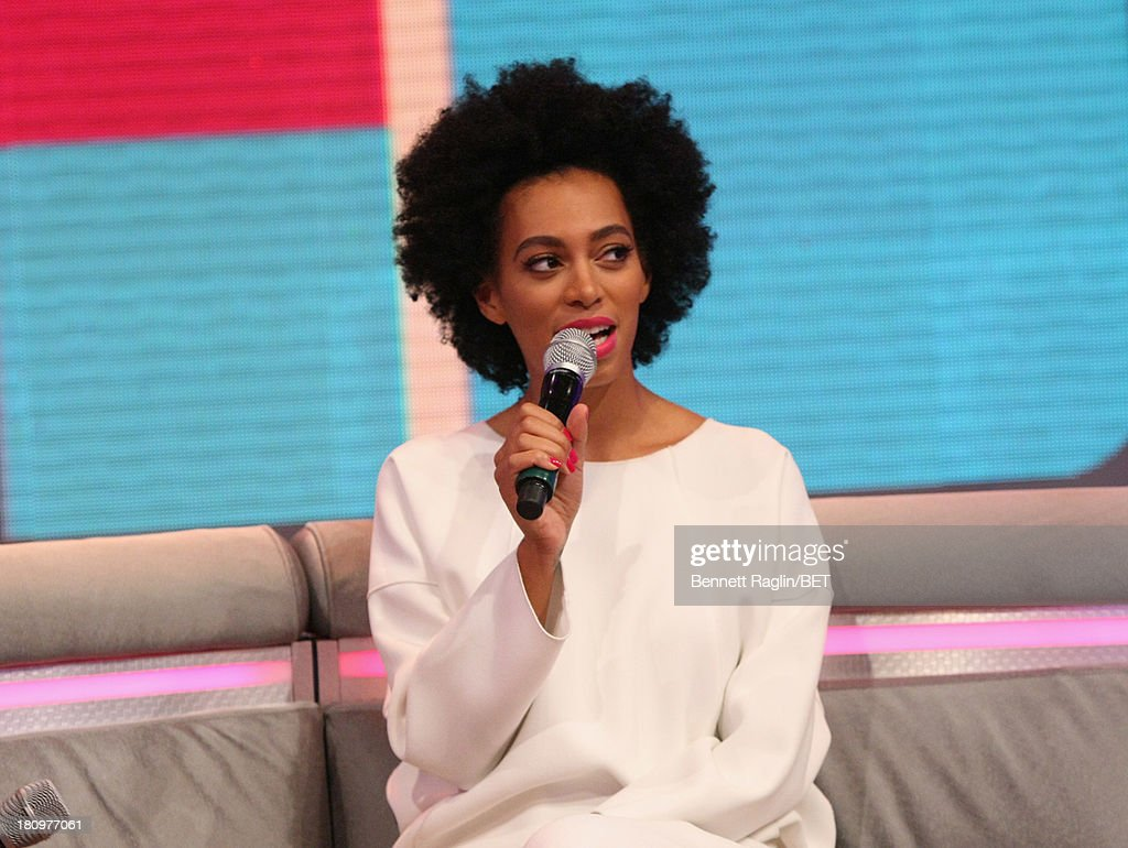 Recording artist Solange Knowles visits 106 & Park at 106 & Park Studio on September 18, 2013 in New York City.