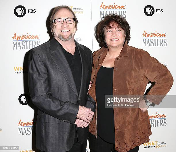 Recording artist Stephen Stills and filmmaker Susan Lacy attend the Premiere Of 'American Masters Inventing David Geffen' at The Writers Guild of...