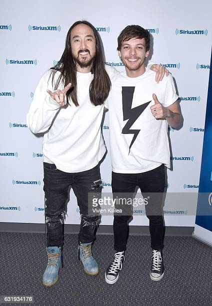 Recording artist Steve Aoki and singer Louis Tomlinson visit the Launch of 'Hits 1 in Hollywood' on SiriusXM Hits 1 at the SiriusXM Los Angeles...