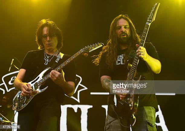 Recording artist Steve Vai performs with guitarist Andreas Kisser of Sepultura during Rock in Rio USA at the MGM Resorts Festival Grounds on May 9...