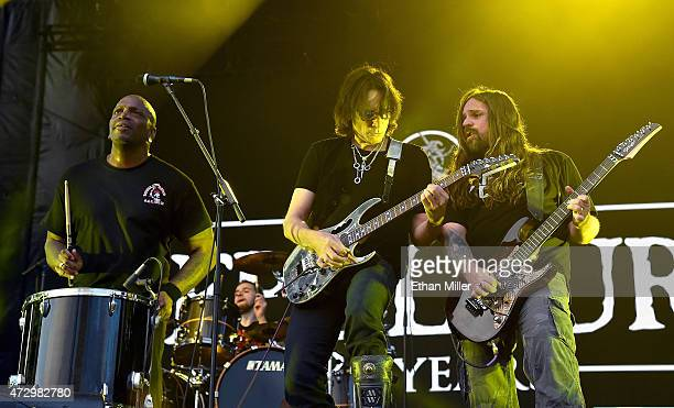 Recording artist Steve Vai performs with singer Derrick Green and guitarist Andreas Kisser of Sepultura during Rock in Rio USA at the MGM Resorts...