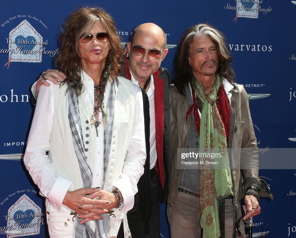 Recording artist <a gi-track='captionPersonalityLinkClicked' href=/galleries/search?phrase=Steven+Tyler+-+Musician&family=editorial&specificpeople=202080 ng-click='$event.stopPropagation()'>Steven Tyler</a>, fashion designer John Varvatos and recording artist <a gi-track='captionPersonalityLinkClicked' href=/galleries/search?phrase=Joe+Perry+-+Musician&family=editorial&specificpeople=13600677 ng-click='$event.stopPropagation()'>Joe Perry</a> attend John Varvatos 10th Annual Stuart House Benefit Presented by Chrysler, at John Varvatos Los Angeles on March 10, 2013 in Los Angeles, California.
