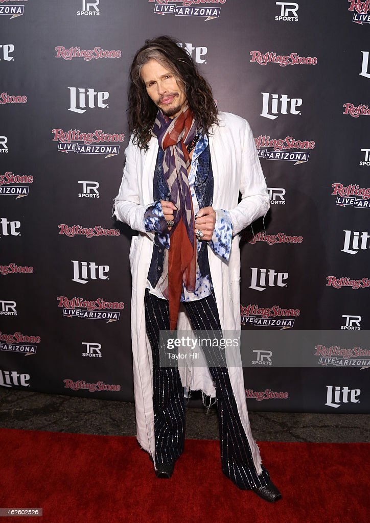 Recording artist <a gi-track='captionPersonalityLinkClicked' href=/galleries/search?phrase=Steven+Tyler+-+Musician&family=editorial&specificpeople=202080 ng-click='$event.stopPropagation()'>Steven Tyler</a> of Aerosmith attends Rolling Stone LIVE Presented By Miller Lite at The Venue of Scottsdale on January 31, 2015 in Scottsdale, Arizona.