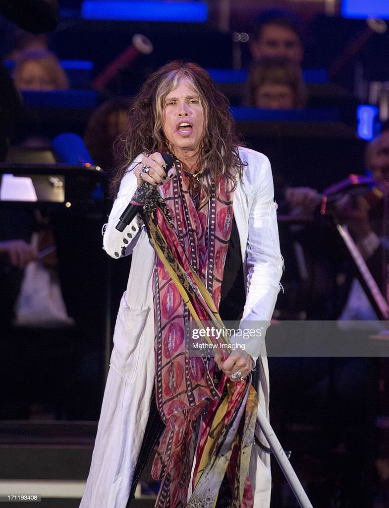 Recording artist <a gi-track='captionPersonalityLinkClicked' href=/galleries/search?phrase=Steven+Tyler+-+Musician&family=editorial&specificpeople=202080 ng-click='$event.stopPropagation()'>Steven Tyler</a> performs at Hollywood Bowl Opening Night Gala - Inside at The Hollywood Bowl on June 22, 2013 in Los Angeles, California.