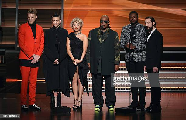Recording artist Stevie Wonder and members of music group Pentatonix Scott Hoying Avi Kaplan Kirstin Maldonado Kevin Olusola and Mitch Grassi speak...