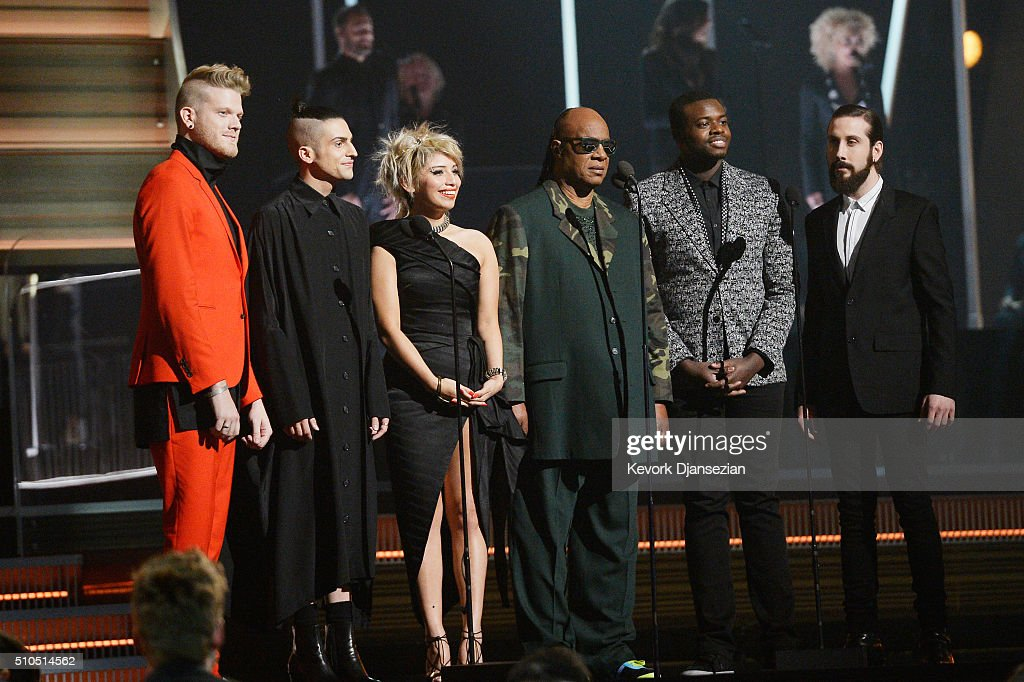 Recording artist Stevie Wonder (C) and the Pentatonix present award for Song of the Year onstage during The 58th GRAMMY Awards at Staples Center on February 15, 2016 in Los Angeles, California.