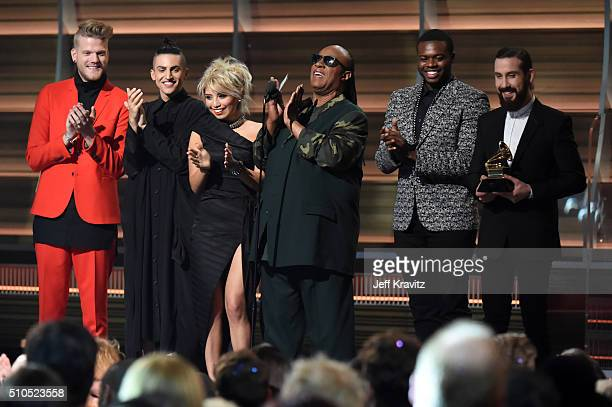 Recording artist Stevie Wonder and the Pentatonix present the award for Song of the Year onstage during The 58th GRAMMY Awards at Staples Center on...