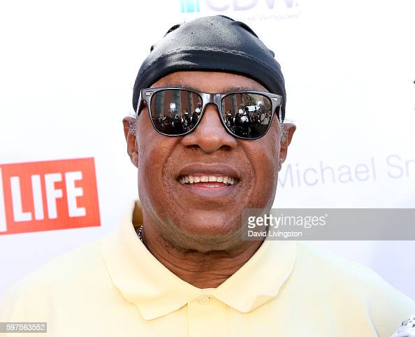 Recording artist Stevie Wonder attends the 4th Annual Kailand Obasi HoopLife Fundraiser at USC Galen Center on August 28 2016 in Los Angeles...