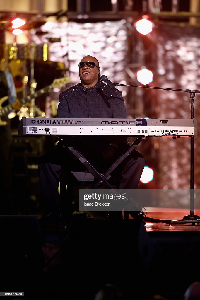 Recording artist <a gi-track='captionPersonalityLinkClicked' href=/galleries/search?phrase=Stevie+Wonder&family=editorial&specificpeople=171911 ng-click='$event.stopPropagation()'>Stevie Wonder</a> performs during the 17th annual Keep Memory Alive 'Power of Love Gala' benefit for the Cleveland Clinic Lou Ruvo Center for Brain Health celebrating the 80th birthdays of Quincy Jones and Sir Michael Caine on April 13, 2013 in Las Vegas, Nevada.