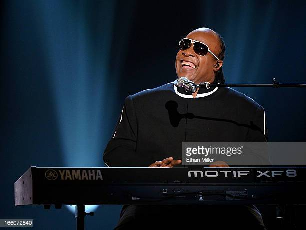 Recording artist Stevie Wonder performs during the 48th Annual Academy of Country Music Awards at the MGM Grand Garden Arena on April 7 2013 in Las...