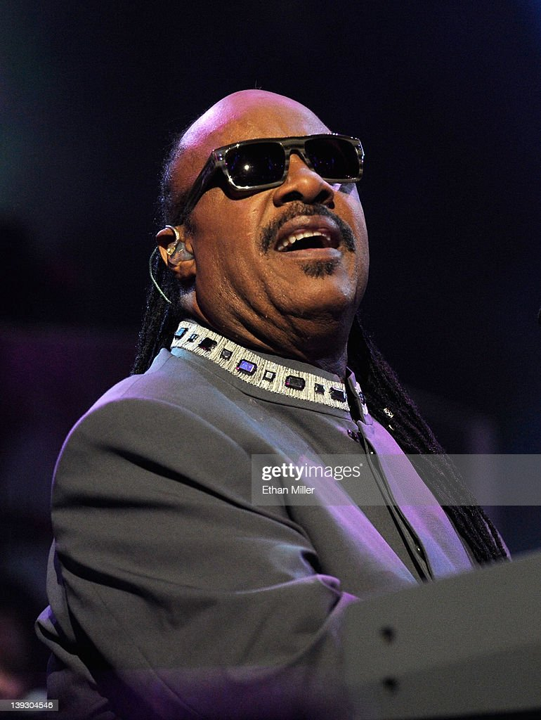 Recording artist <a gi-track='captionPersonalityLinkClicked' href=/galleries/search?phrase=Stevie+Wonder&family=editorial&specificpeople=171911 ng-click='$event.stopPropagation()'>Stevie Wonder</a> performs onstage at the Keep Memory Alive foundation's 'Power of Love Gala' celebrating Muhammad Ali's 70th birthday at the MGM Grand Garden Arena February 18, 2012 in Las Vegas, Nevada. The event benefits the Cleveland Clinic Lou Ruvo Center for Brain Health and the Muhammad Ali Center.