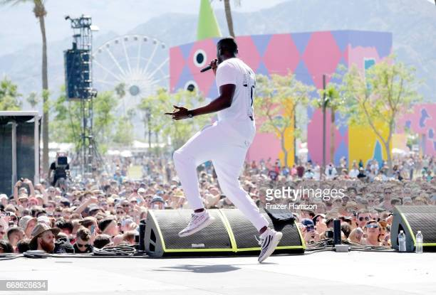 Recording artist Stormzy performs at the Outdoor Stage during day 1 of the Coachella Valley Music And Arts Festival at the Empire Polo Club on April...