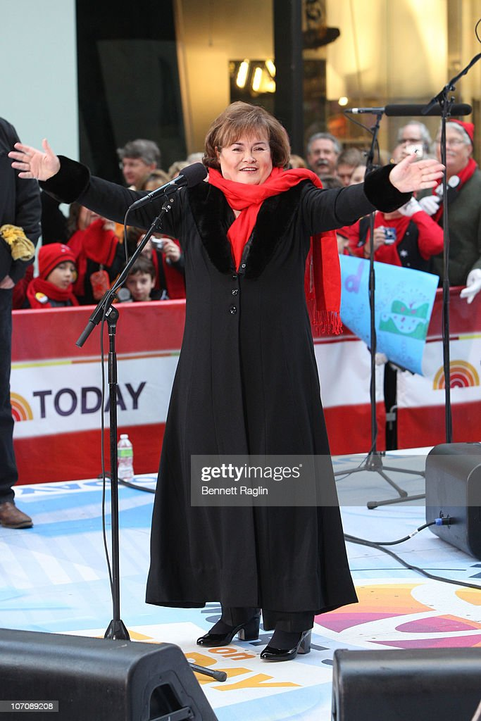 Recording artist <a gi-track='captionPersonalityLinkClicked' href=/galleries/search?phrase=Susan+Boyle&family=editorial&specificpeople=5810021 ng-click='$event.stopPropagation()'>Susan Boyle</a> performs on NBC's 'Today' at Rockefeller Center on November 23, 2010 in New York City.