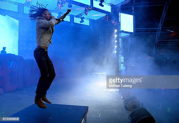 Recording artist Swae Lee of Rae Sremmurd performs onstage during day 1 of the 2016 Coachella Valley Music Arts Festival Weekend 2 at the Empire Polo...