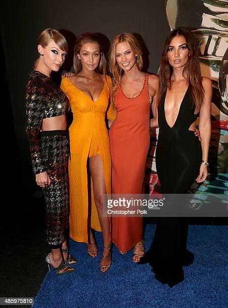 Recording artist Taylor Swift models Gigi Hadid Karlie Kloss and Lily Aldridge attend the 2015 MTV Video Music Awards at Microsoft Theater on August...
