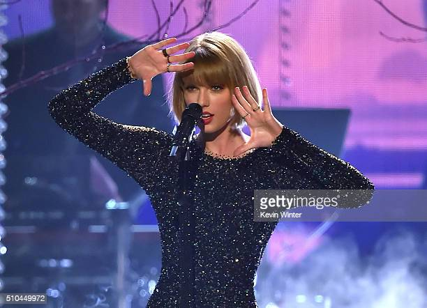 Recording artist Taylor Swift performs onstage during The 58th GRAMMY Awards at Staples Center on February 15 2016 in Los Angeles California