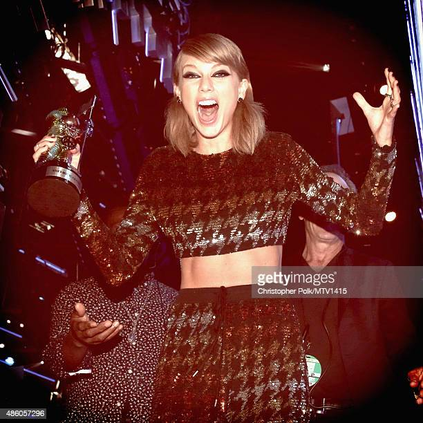 Recording artist Taylor Swift wins the Video of the Year Award for 'Bad Blood' onstage during the 2015 MTV Video Music Awards at Microsoft Theater on...