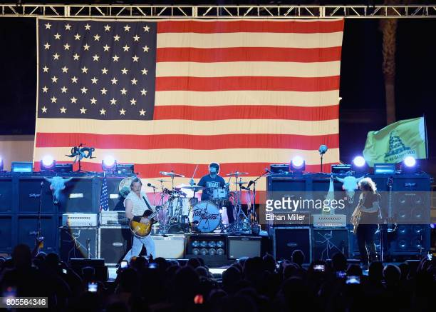 Recording artist Ted Nugent performs with drummer Jason Hartless and bassist Greg Smith at the Sunset Amphitheater at the Sunset Station Hotel Casino...