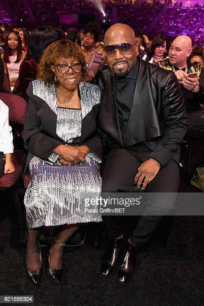 Recording artist Teddy Riley and guest are seen in the audience during the 2016 Soul Train Music Awards at the Orleans Arena on November 6 2016 in...