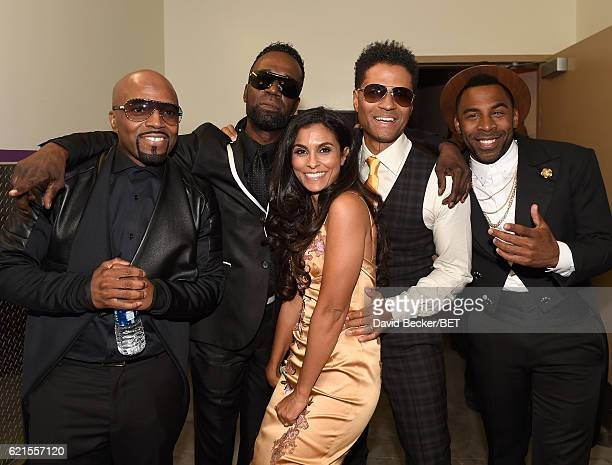 Recording artist Teddy Riley singer Aaron Hall Manuela Testolini singer Eric Benet and singer MAJOR are seen backstage during the 2016 Soul Train...