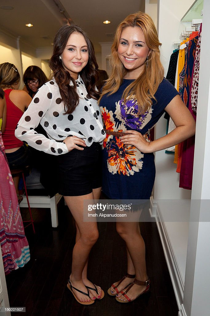 Recording artist Temara Melek (L) and Julianna Rose attend the Teen Vogue Back-To-School Event & Madison t Boutique Launch Party on August 11, 2012 in Pacific Palisades, California.
