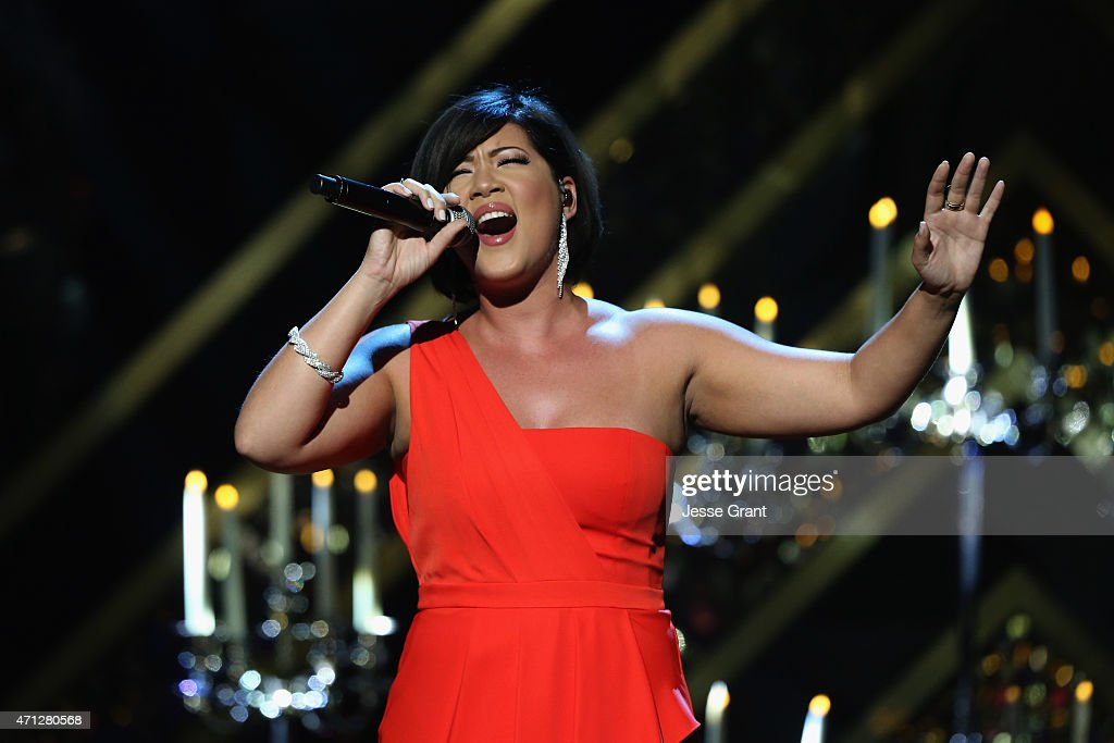 Recording artist Tessanne Chin performs onstage during The 42nd Annual Daytime Emmy Awards at Warner Bros Studios on April 26 2015 in Burbank...