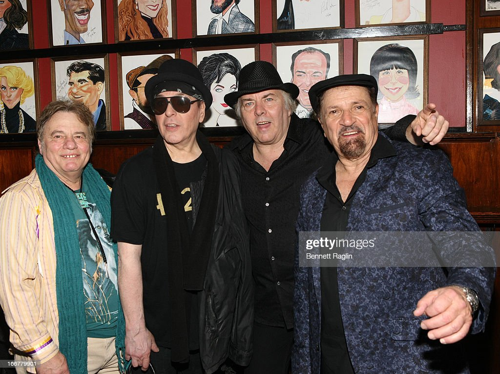 Recording artist The Rascals (L - R) Eddie Brigati, Dino Danelli, Gene Cornish, and Felix Cavaliere pose for a picture during the after party for 'The Rascals: Once Upon A Dream' Broadway Opening Night at Sardi's on April 16, 2013 in New York City.