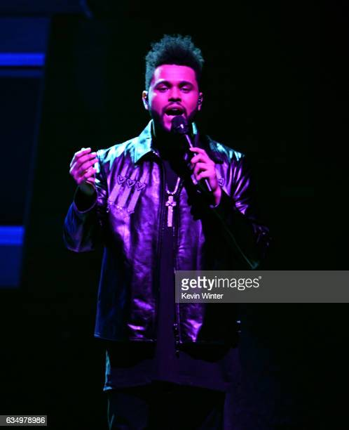 Recording artist The Weeknd performs onstage during The 59th GRAMMY Awards at STAPLES Center on February 12 2017 in Los Angeles California