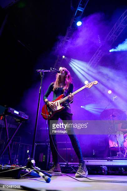Recording artist Theresa Wayman of Warpaint performs on Huntridge Stage during day 3 of the 2016 Life Is Beautiful festival on September 25 2016 in...
