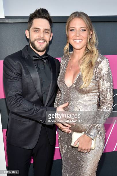 Recording artist Thomas Rhett and Lauren Gregory Akins attend the 52nd Academy Of Country Music Awards at Toshiba Plaza on April 2 2017 in Las Vegas...
