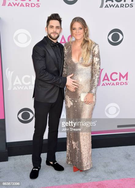Recording artist Thomas Rhett and Lauren Gregory Akins attends the 52nd Academy Of Country Music Awards at Toshiba Plaza on April 2 2017 in Las Vegas...