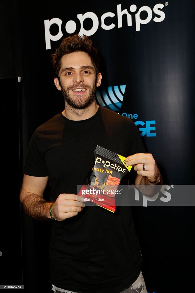 Recording Artist <a gi-track='captionPersonalityLinkClicked' href=/galleries/search?phrase=Thomas+Rhett&family=editorial&specificpeople=9092574 ng-click='$event.stopPropagation()'>Thomas Rhett</a> at popchips and Westwood One's Backstage at The GRAMMYS at Staples Center on February 13, 2016 in Los Angeles, California.
