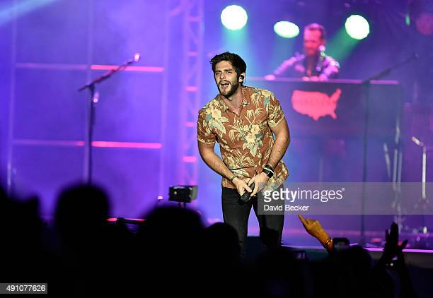 Recording artist Thomas Rhett performs during the Route 91 Harvest country music festival at the Las Vegas Village on October 2 2015 in Las Vegas...