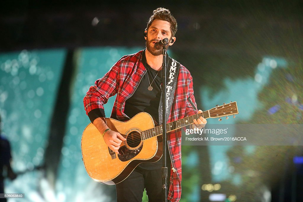 Recording artist <a gi-track='captionPersonalityLinkClicked' href=/galleries/search?phrase=Thomas+Rhett&family=editorial&specificpeople=9092574 ng-click='$event.stopPropagation()'>Thomas Rhett</a> performs onstage during rehearsals for the 2016 American Country Countdown Awards at The Forum on April 29, 2016 in Inglewood, California.