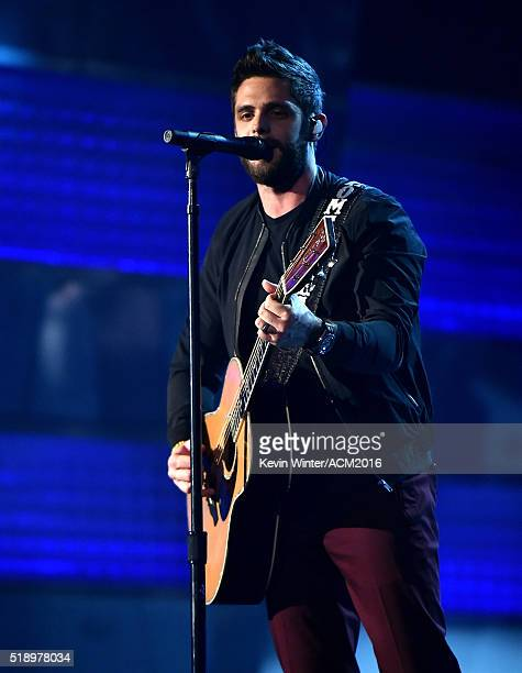 Recording artist Thomas Rhett performs onstage during the 51st Academy of Country Music Awards at MGM Grand Garden Arena on April 3 2016 in Las Vegas...