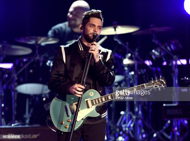 Recording artist Thomas Rhett performs onstage during the 52nd Academy of Country Music Awards at TMobile Arena on April 2 2017 in Las Vegas Nevada