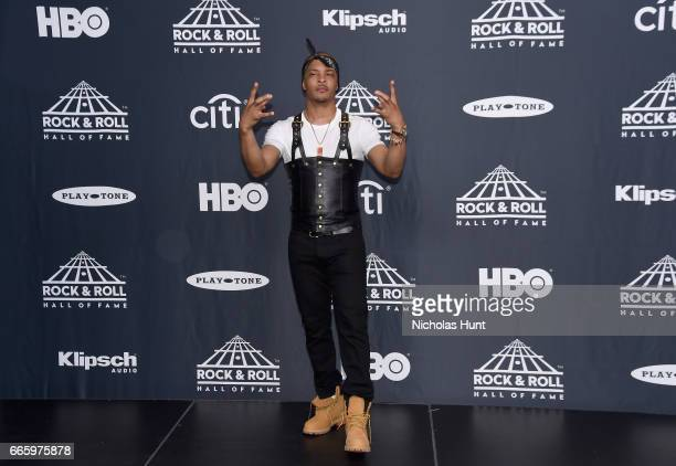 Recording artist TI attends the Press Room of the 32nd Annual Rock Roll Hall Of Fame Induction Ceremony at Barclays Center on April 7 2017 in New...