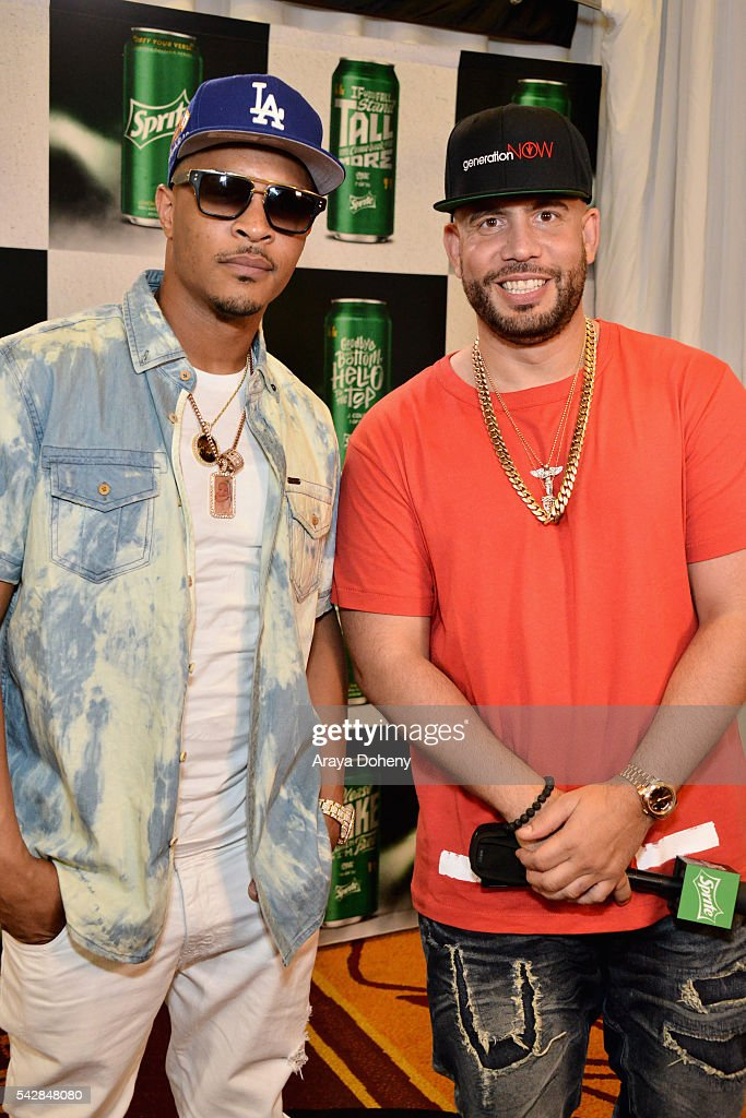 Recording artist T.I. (L) attends the radio broadcast center during the 2016 BET Experience at the JW Marriott Los Angeles L.A. Live on June 24, 2016 in Los Angeles, California.