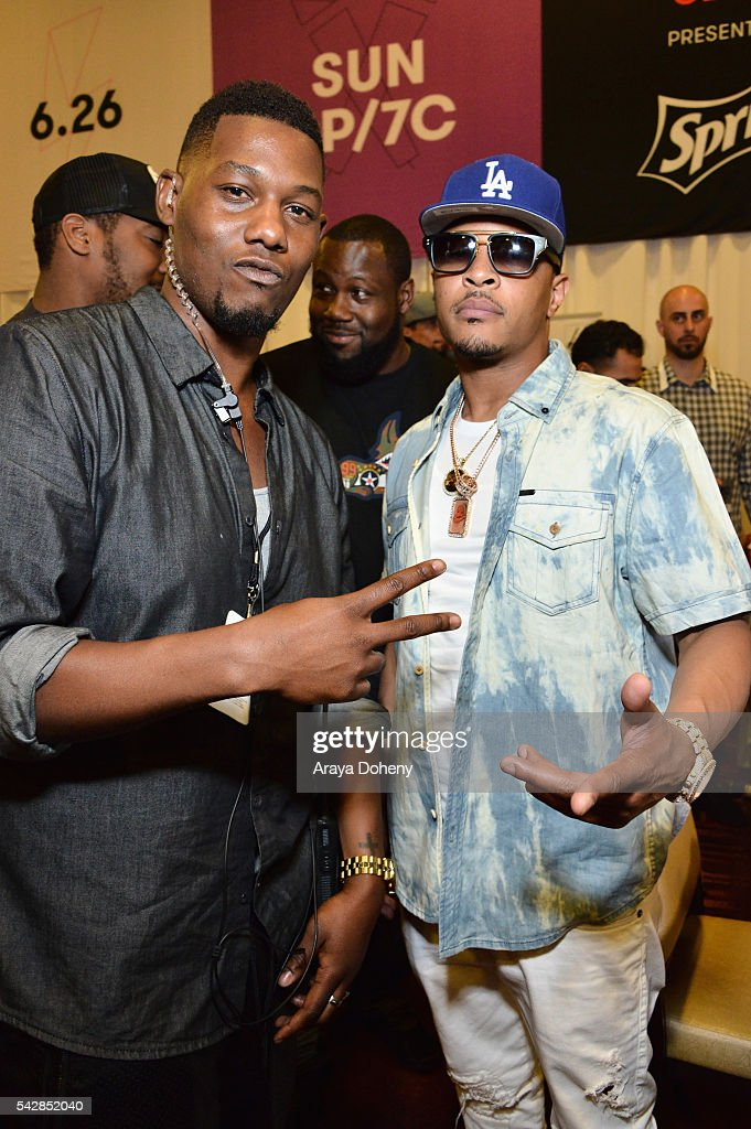 Recording artist <a gi-track='captionPersonalityLinkClicked' href=/galleries/search?phrase=T.I.&family=editorial&specificpeople=221599 ng-click='$event.stopPropagation()'>T.I.</a> (R) attends the radio broadcast center during the 2016 BET Experience at the JW Marriott Los Angeles L.A. Live on June 24, 2016 in Los Angeles, California.