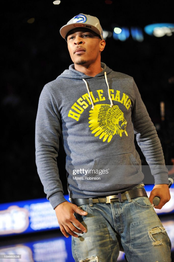 Recording Artist T.I. performs halftime at the Chicago Bulls vs Atlanta Hawks game at Phillips Arena on December 22, 2012 in Atlanta, Georgia.