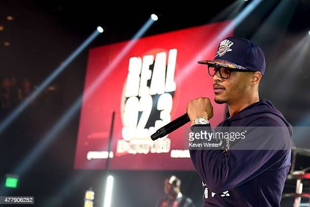 Recording artist TI performs onstage during iHeartRadio Live with special guest TI at the iHeartRadio Theater Los Angeles on June 19 2015 in Burbank...