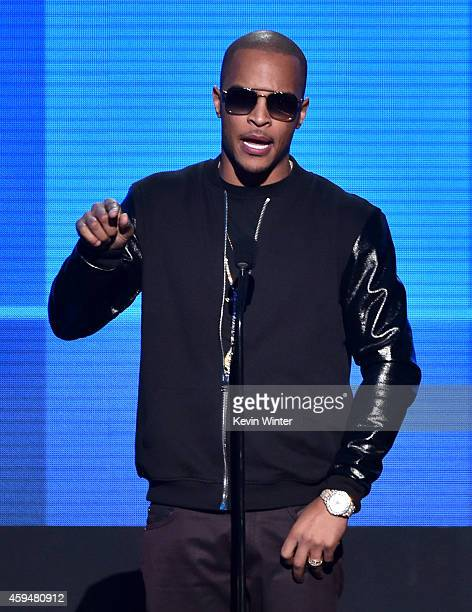 Recording artist TI speaks onstage at the 2014 American Music Awards at Nokia Theatre LA Live on November 23 2014 in Los Angeles California