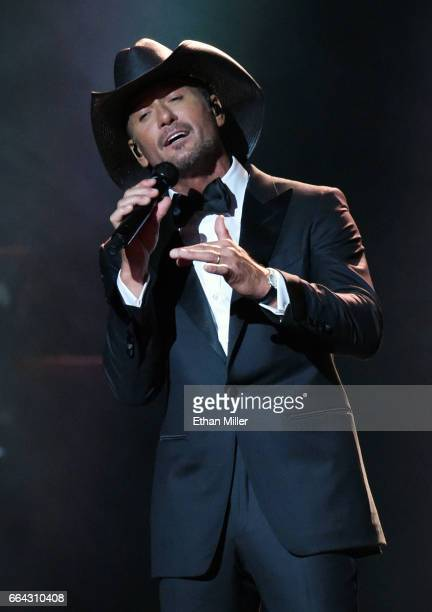 Recording artist Tim McGraw performs during the 52nd Academy of Country Music Awards at TMobile Arena on April 2 2017 in Las Vegas Nevada