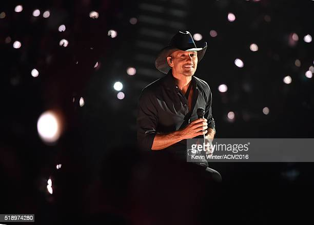 Recording artist Tim McGraw performs onstage during the 51st Academy of Country Music Awards at MGM Grand Garden Arena on April 3 2016 in Las Vegas...